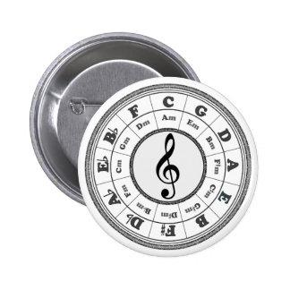 Círculo musical de quintos pin redondo 5 cm
