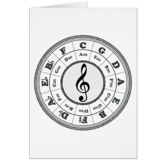 Círculo musical de quintos tarjeta