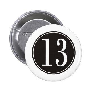 Círculo negro #13 (frente) pin redondo de 2 pulgadas