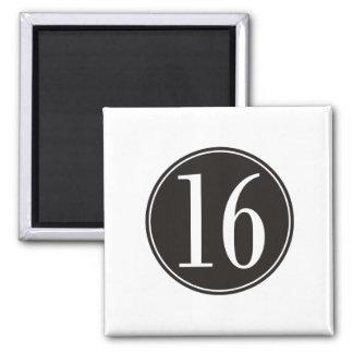 Círculo negro #16 (frente) imán cuadrado