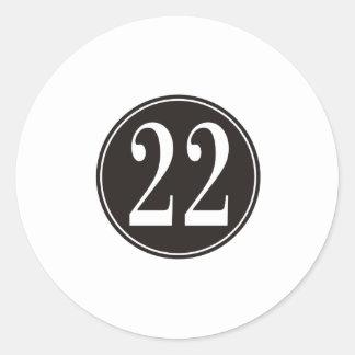 Círculo negro #22 (frente) etiqueta redonda