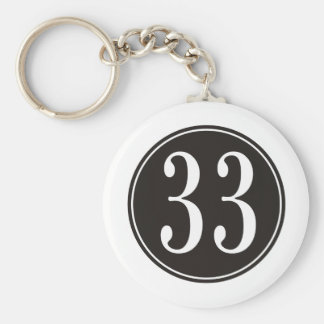 Círculo negro #33 llavero redondo tipo pin