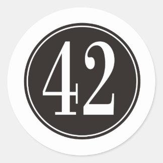 Círculo negro #42 etiqueta redonda