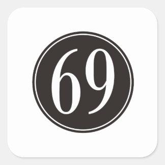 Círculo negro #69 pegatina cuadrada