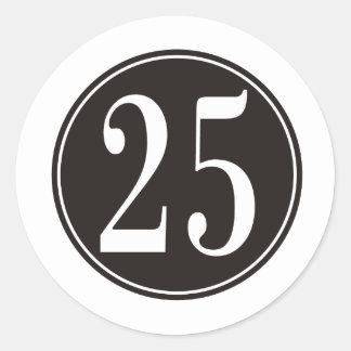 Círculo negro - número 25 (frente) pegatina redonda