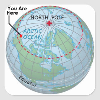 Círculo Polar Ártico Pegatina Cuadrada