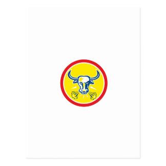 Círculo principal enojado de Bull retro Postal