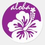 Círculo púrpura de la flor de la hawaiana pegatinas