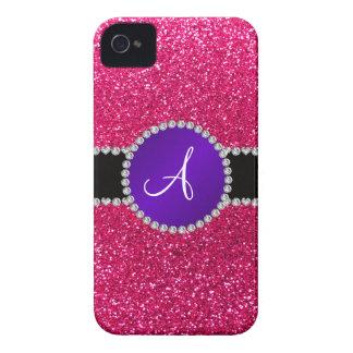 Círculo púrpura del diamante del brillo del rosa c iPhone 4 protector