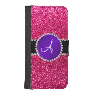 Círculo púrpura del diamante del brillo del rosa c funda cartera para teléfono