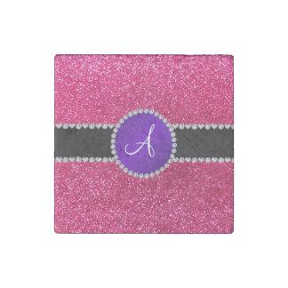 Círculo púrpura del diamante del brillo del rosa imán de piedra