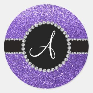 Círculo púrpura del negro del diamante del brillo pegatina redonda