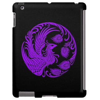 Círculo púrpura tradicional de Phoenix en negro Funda Para iPad