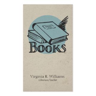 Círculo retro azul del ejemplo de libros del plantilla de tarjeta de negocio