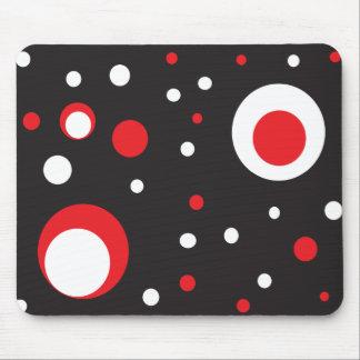 Círculo retro rojo y blanco Mousepad Tapete De Ratones