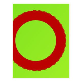 círculo rojo con el fondo verde tarjeta postal