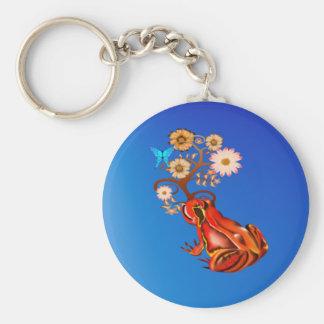 Círculo rojo de la rana y de las flores llavero redondo tipo pin