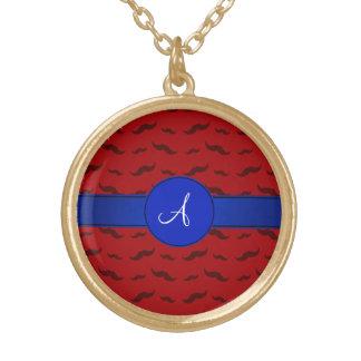 Círculo rojo del azul de los bigotes del monograma colgante redondo