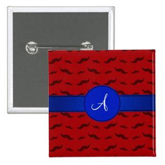 Círculo rojo del azul de los bigotes del monograma pins