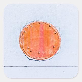 Círculo rojo pegatina cuadrada