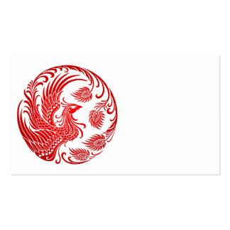 Círculo rojo tradicional de Phoenix en rojo Tarjeta De Visita