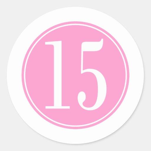 Círculo rosado #15 etiqueta redonda