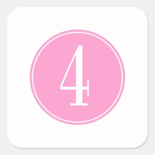 Círculo rosado #4 pegatina cuadrada