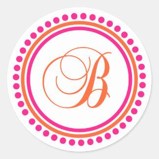 Círculo rosado anaranjado del monograma de B del Pegatina