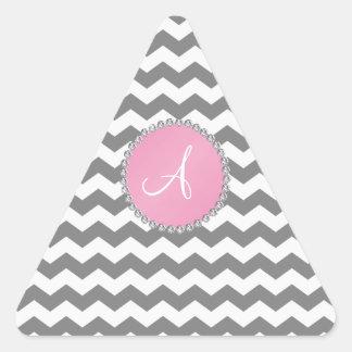Círculo rosado de los galones grises cones calcomanía de trianguladas