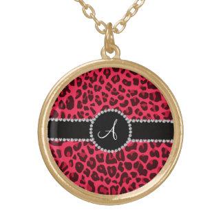 Círculo rosado del estampado leopardo del monogram grimpola