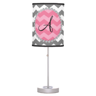 Círculo rosado del galón de los galones grises lámpara de mesilla de noche