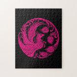 Círculo rosado tradicional de Phoenix en negro Rompecabezas Con Fotos