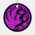 Círculo rosado y púrpura tradicional de Phoenix Ornamente De Reyes