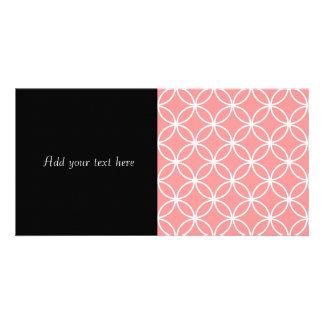 Círculo traslapado del rosa y blanco del diseño plantilla para tarjeta de foto