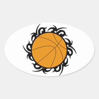Círculo tribal del baloncesto calcomanía ovaladas personalizadas