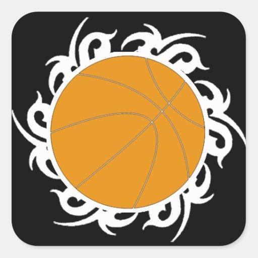 Círculo tribal del baloncesto calcomanía cuadrada personalizada