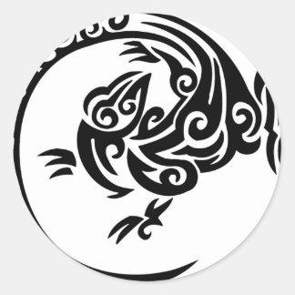Círculo tribal del lagarto pegatinas redondas