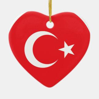 Círculo turco de la bandera adorno navideño de cerámica en forma de corazón