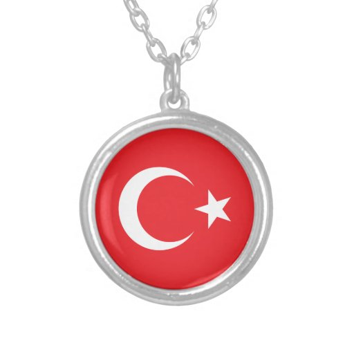Círculo turco de la bandera collar plateado