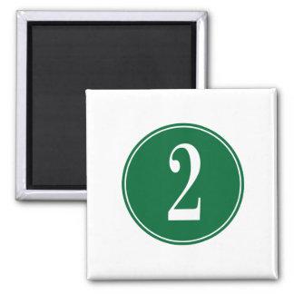 Círculo verde #2 imán cuadrado