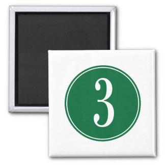 Círculo verde #3 imán cuadrado