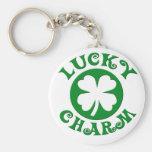 Círculo verde/blanco del encanto afortunado llavero personalizado