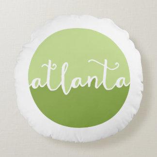 Círculo verde de Atlanta, Georgia el | Ombre Cojín Redondo