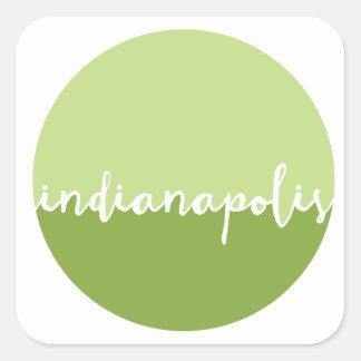 Círculo verde de Indianapolis, Indiana el | Ombre Pegatina Cuadrada