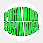 Círculo verde de Pura Vida Costa Rica Pegatina Redonda