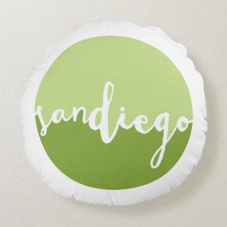 Círculo verde de San Diego, California el | Ombre Cojín Redondo