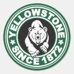 Círculo verde de Yellowstone Etiqueta Redonda