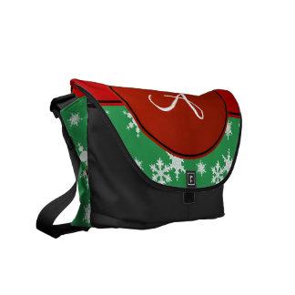 Círculo verde del rojo de los copos de nieve del bolsas de mensajeria