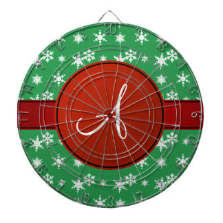 Círculo verde del rojo de los copos de nieve del tablero dardos