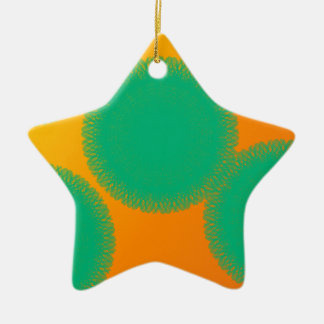 círculo verde en naranja amarillento adorno de cerámica en forma de estrella